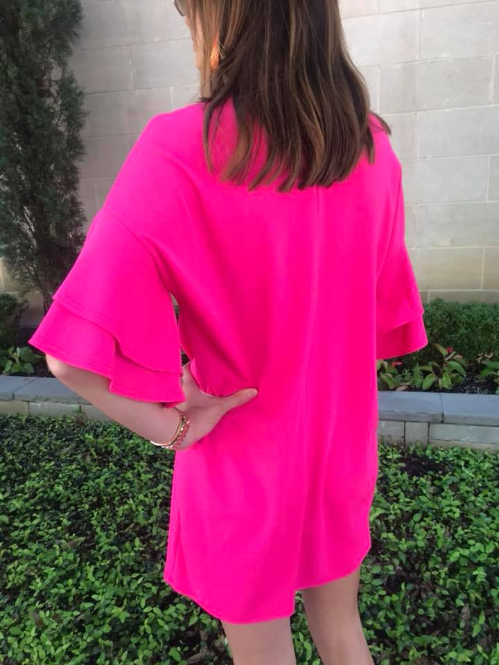 Celine Fuchsia Ruffle Sleeve Dress