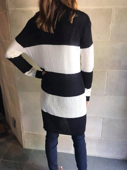 Adams Wide Striped Open Cardigan