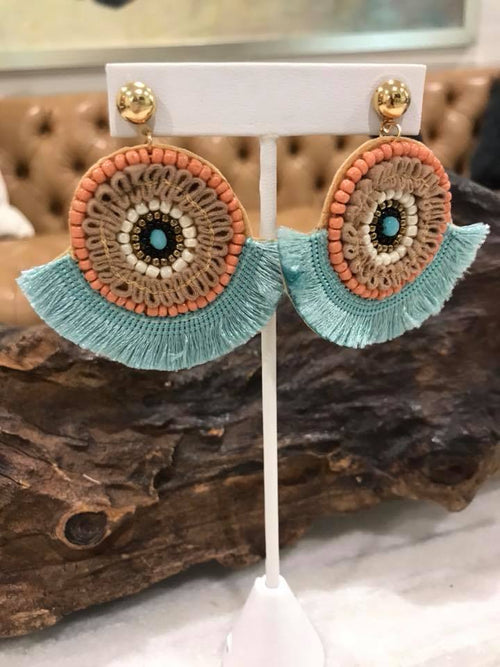 Beaded Fringe Statement Earrings