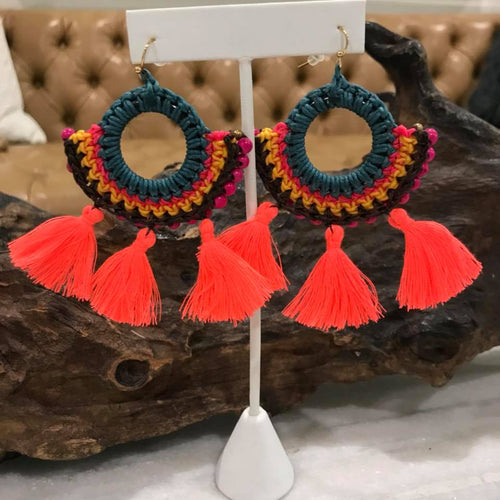Beaded Handmade Fringe Earrings