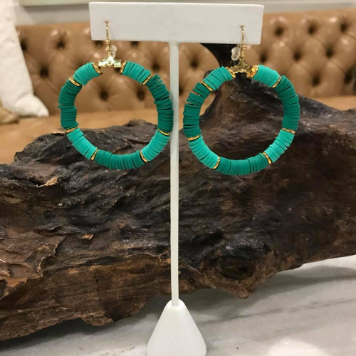 Blue and Green Beaded Circle Hoop Earrings