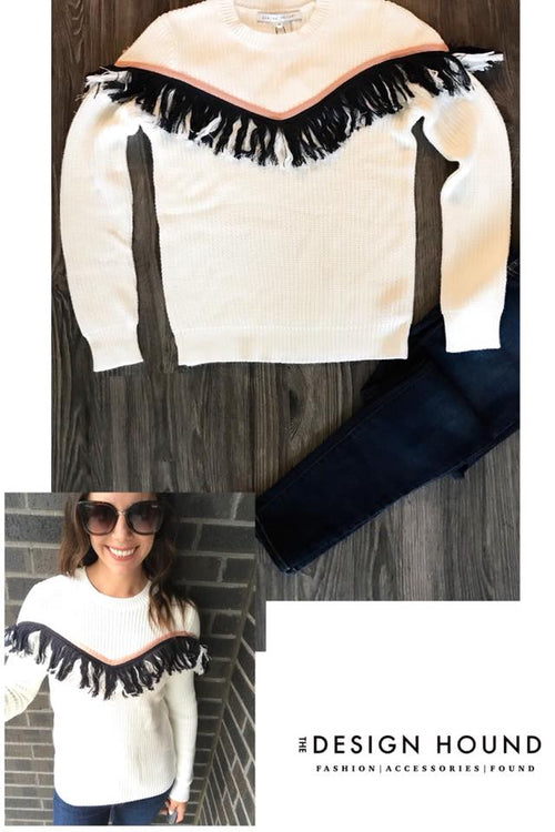 Kallista Knit Sweater with Fringe Zigzag Detail