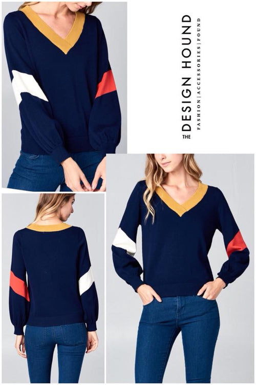 NAVY- Stanford Colorblock Sleeve Knit Top