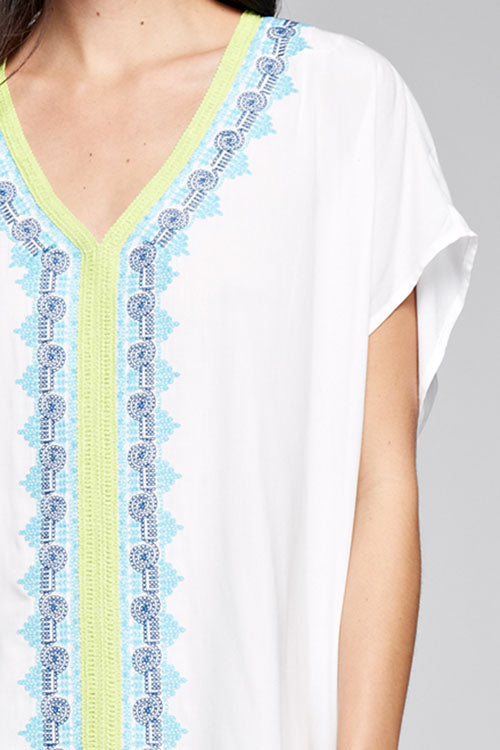 Naples Ivory V-Neck Embroidered Coverup