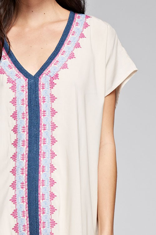Naples Off White V-Neck Embroidered Coverup