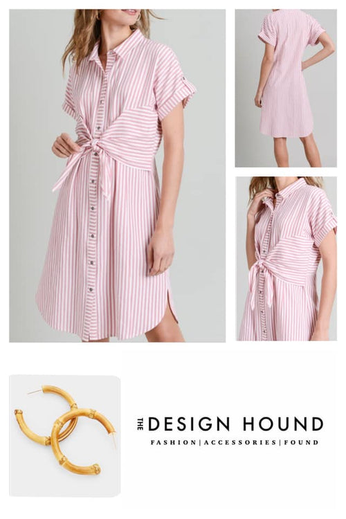 Chelsea Front Tie Striped Shirt Dress