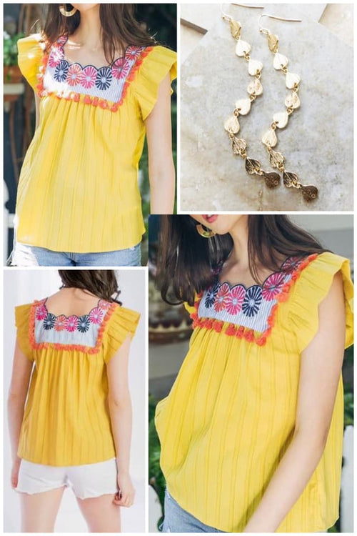 Isla Yellow Embroidered Top by THML Brand