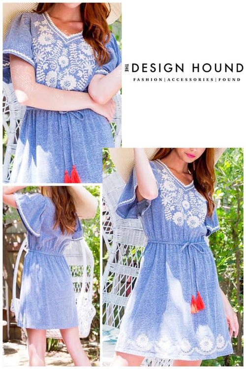 Tinley Denim Blue Cotton THML Dress with Embrodiery