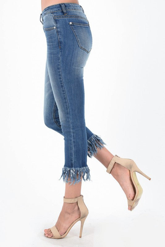 Jackson Cropped Fray Jeans