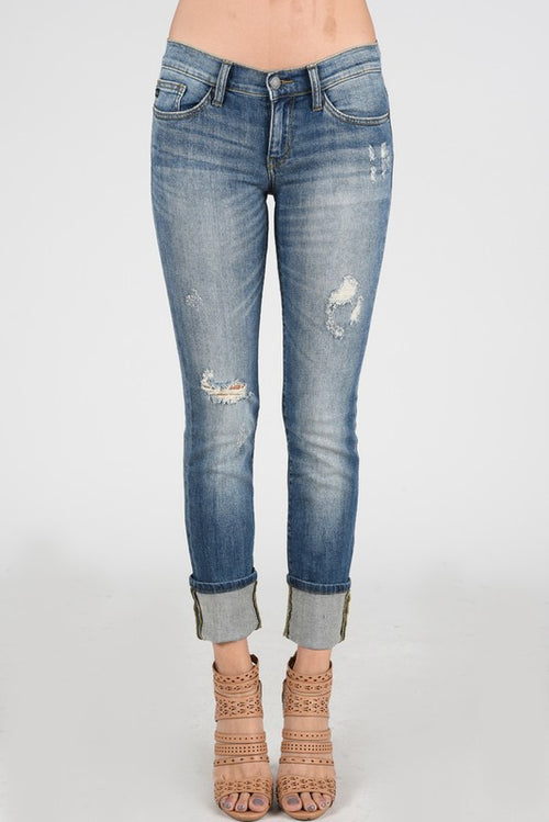 James Boyfriend Cuffed Light Denim Jeans