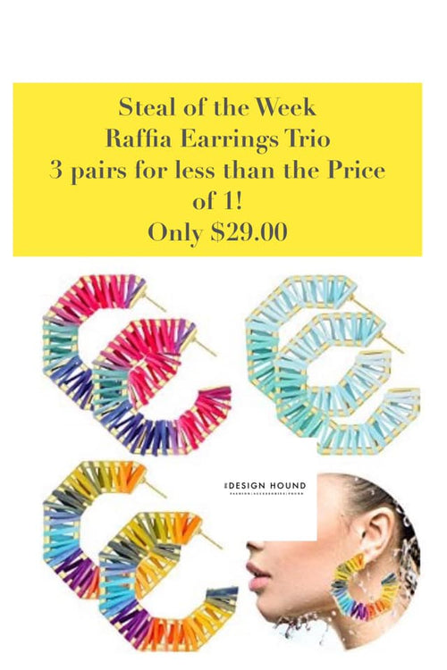 Raffia Earring Trio Gift Set