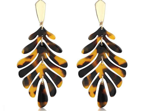 Botanical Leaf Earrings - Leopard