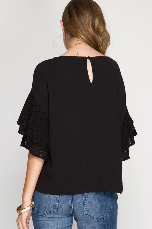 Taylor Ruffle Short Sleeve Top