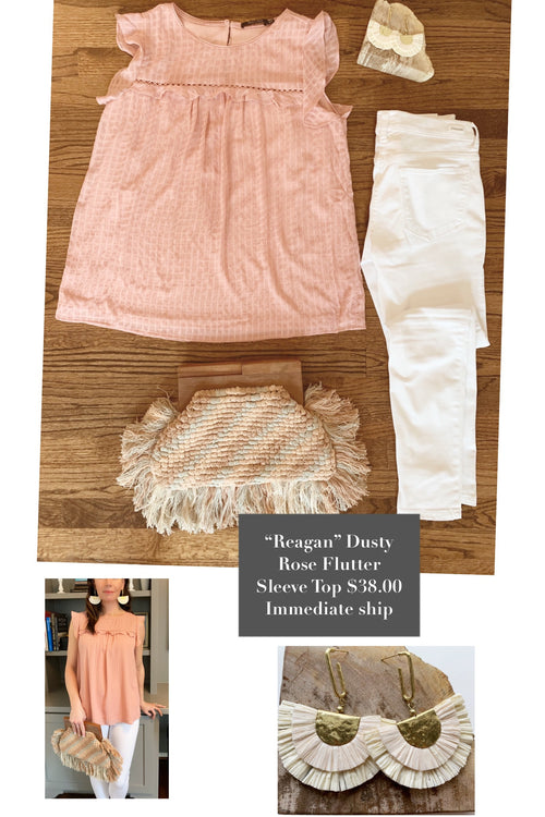 Ashton Dusty Rose Flutter Sleeve top