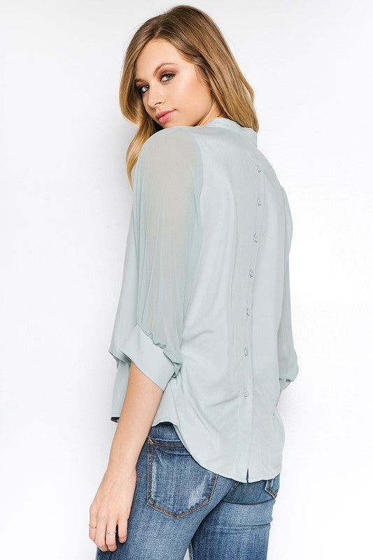 Farrah Sheer Sleeve Blouse
