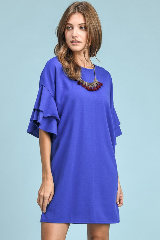 Celine Royal Blue Ruffle Sleeve Dress