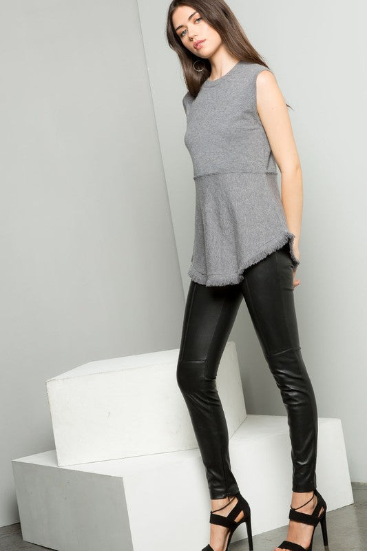 """Lakehurst"" THML Grey Sleeveless knit top"