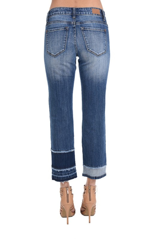 Portland Tiered Straight Leg Crop Denim Jeans