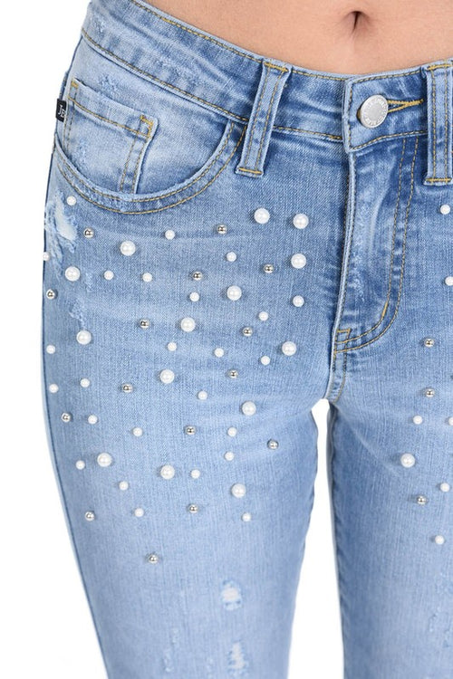 Judy Blue Pearl Accent Denim Skinny Jeans