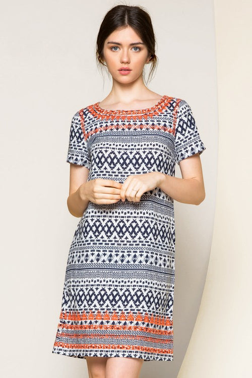 THML Morgan Navy Print Shift Dress