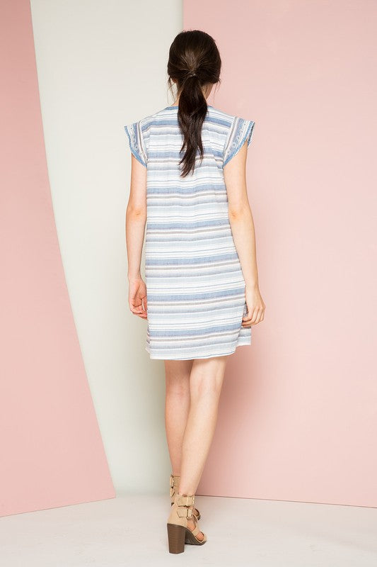 THML Karlie Striped Empire Waist Dress