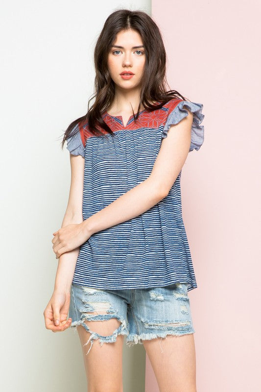 THML Harper Navy Striped Embroidered Top