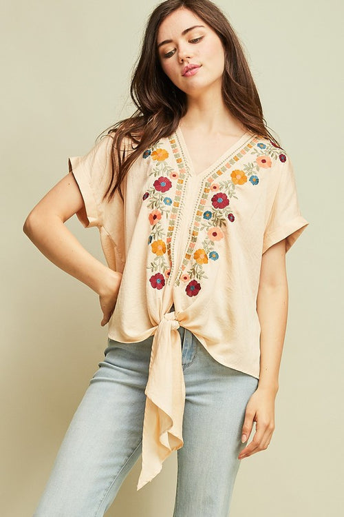 Diego Embroidered Front Knot Statement Top
