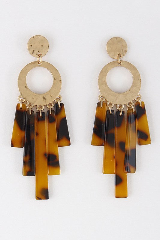 Gold Hammered Lucite Drop Statement Earrings