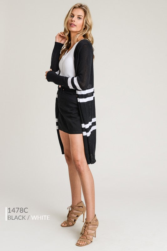 Mila Black Open Front Cardigan