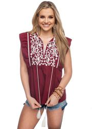 Gameday Maroon/White Embroidered Top