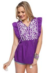 Gameday Purple/White Embroidered Top