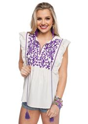 Gameday White/Purple Embroidered Top