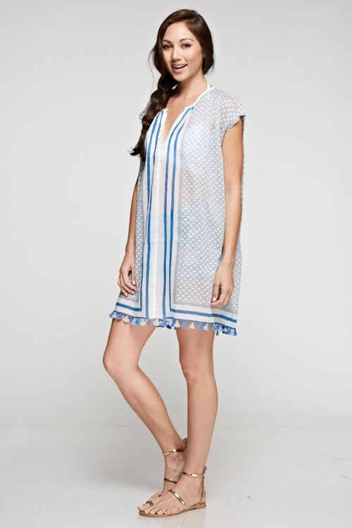 Saratoga Love Stitch Tassel Cover Up Dress