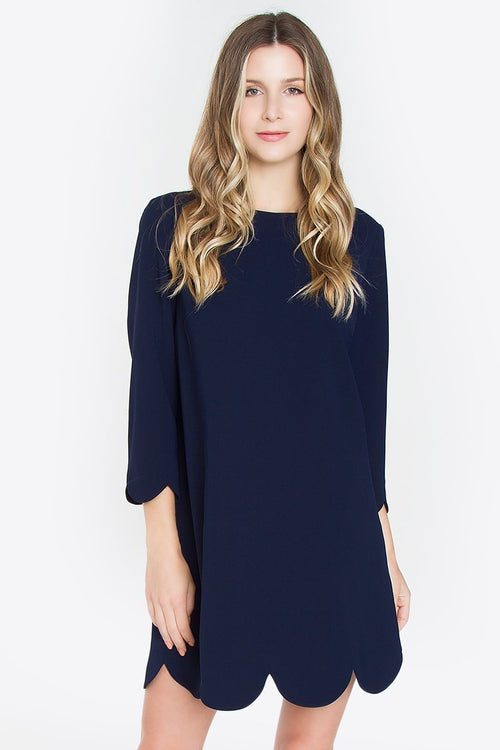 Navy London Scallop Hem Dress