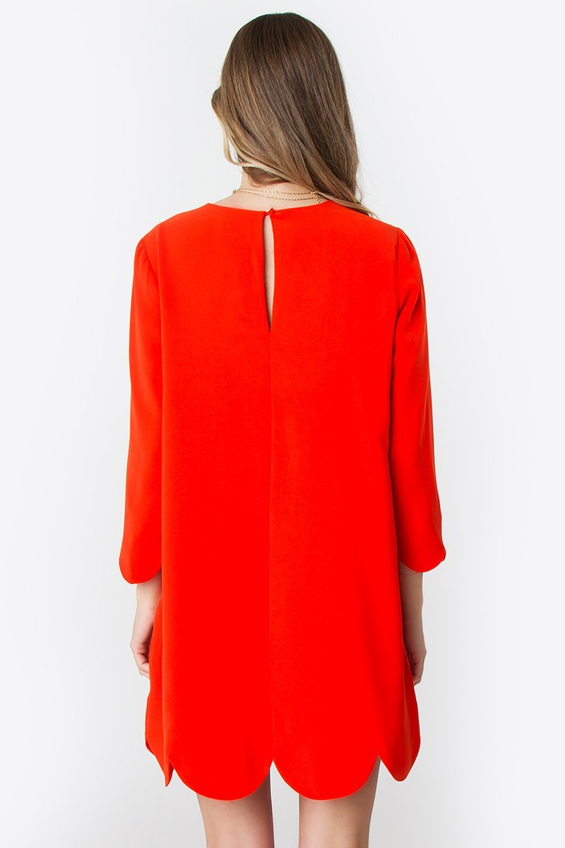 Coral Red London Scalloped Hem Dress