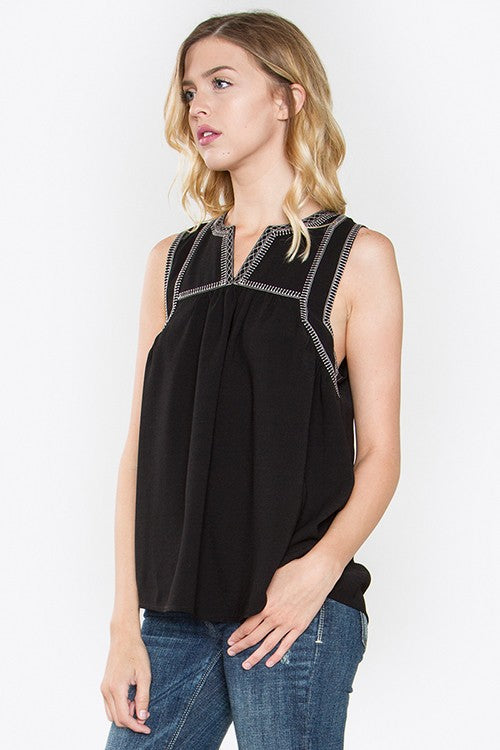 Laney Embroidered Sleeveless Top