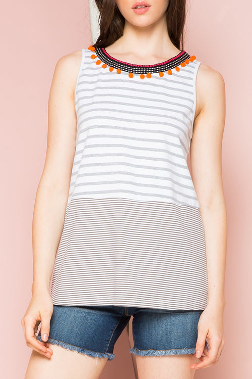 Marilyn THML Sleeveless Striped Top