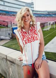 Gamed White/Red Embroidered Top