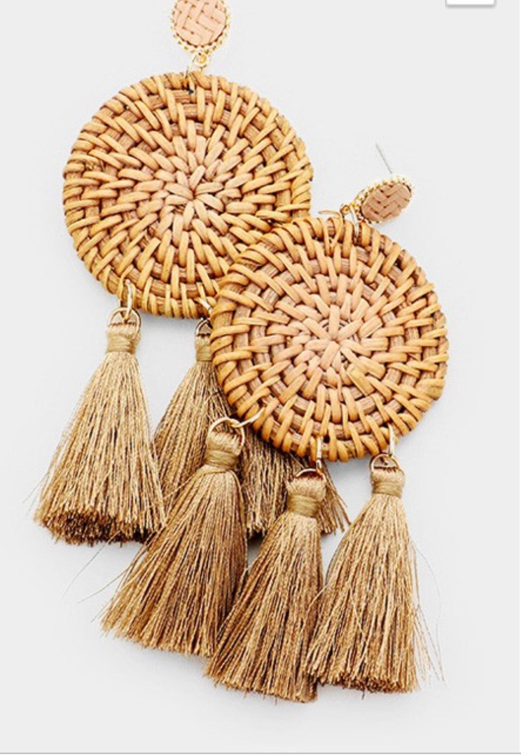 Woven Statement Earrings with tassel detail
