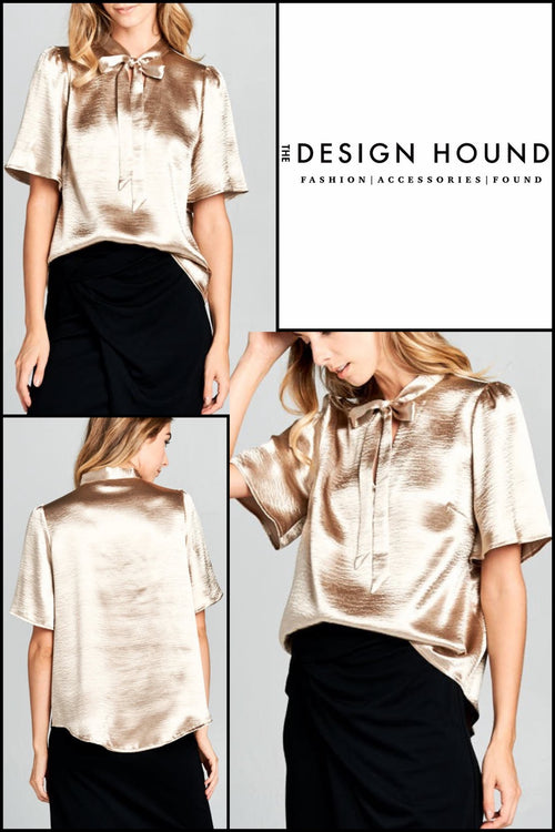 Kennedy Gold neck tie blouse