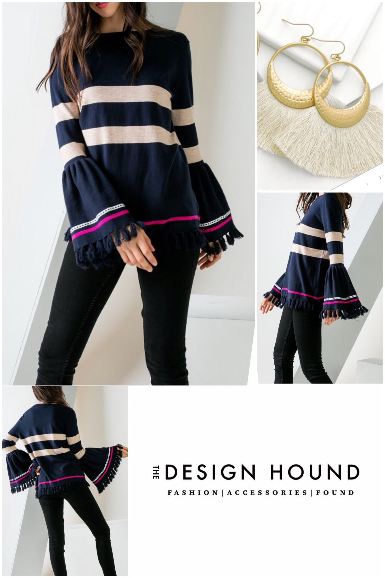 Madison THML Navy Fringe Knit Top