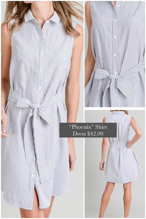 Phoenix Black striped front tie shirt dress