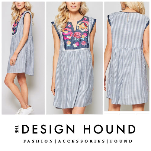 PRE ORDER: Davis Striped Embroidered Apron Dress