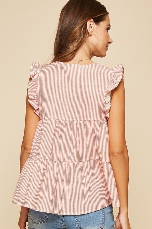 Alexander Rec Striped Embroidered Top