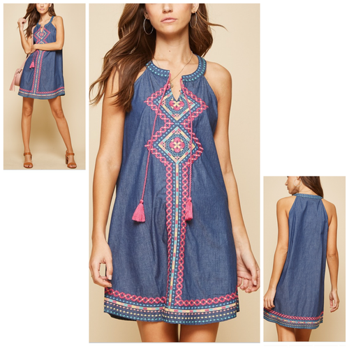 Hadleigh Denim Halter Style Dress