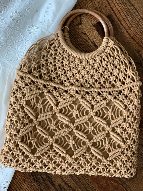 Tan Macrame Wooden Handle Handbag