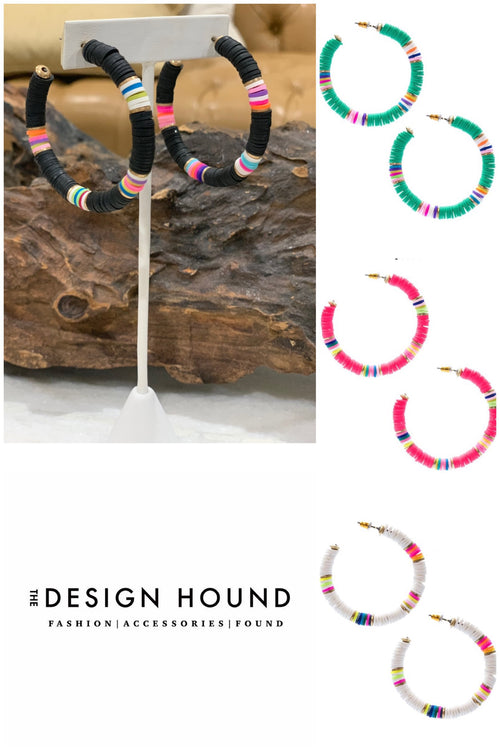 Kendal Multi Color Disc Beaded Hoop Earrings
