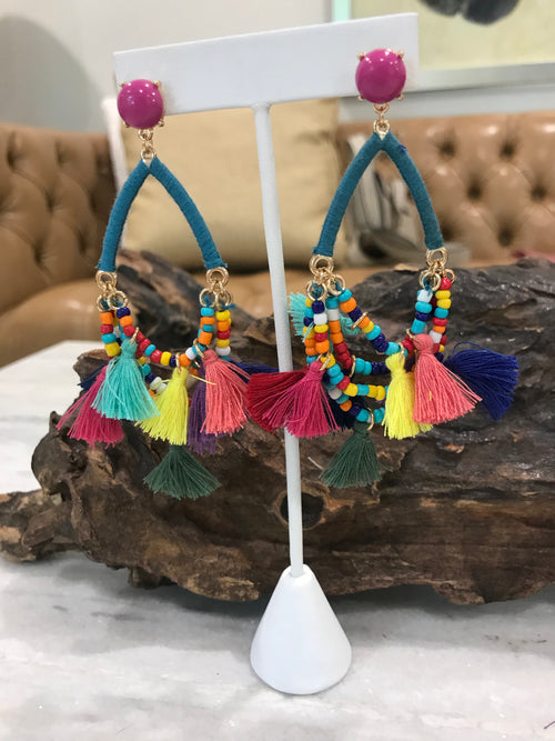 Colorful mini tassel and beaded statement earring
