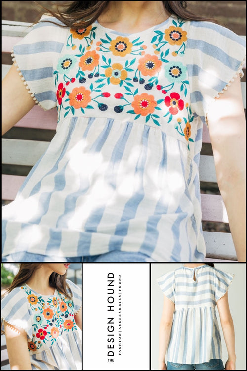 Sicily Blus striped flower embroidered top by THML Brand