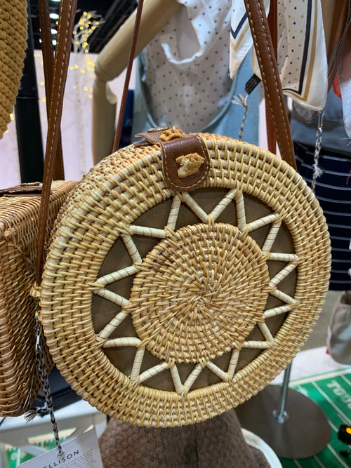 Rattan Structured Circle Crossbody